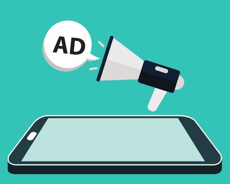 Flat isometric mobile phone marketing. vector illustration
