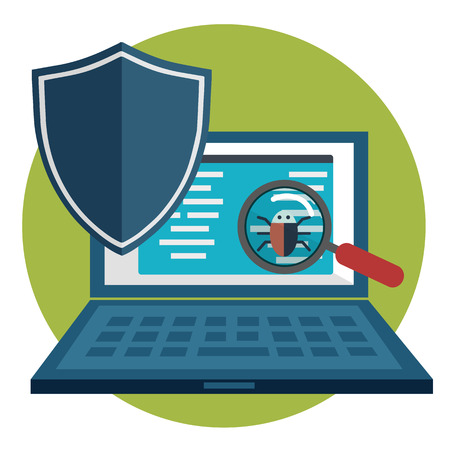 inquire: Searching for bug, virus magnifying glass with computer Stock Photo