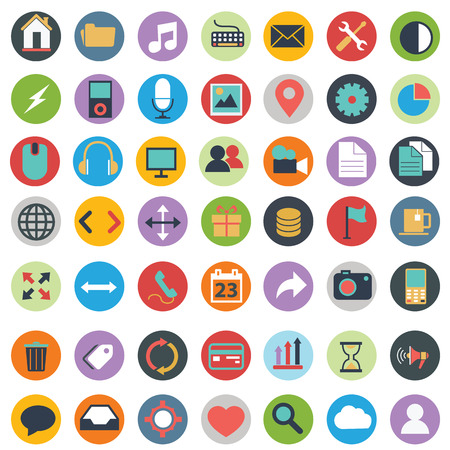 Flat icons design modern vector illustration big set of various financial service items, web and technology development, business management symbol, marketing items and office equipment on background