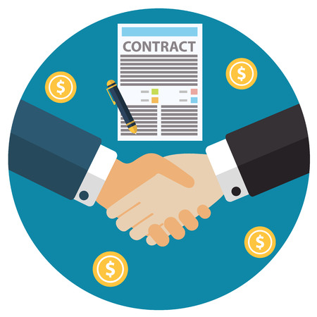 business agreement: Businessman hand sign business contract paper sheet hand shake after agreement, trendy flat design.