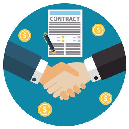 Zakenman zakelijk contract vel papier de hand handteken schudden na een akkoord, trendy flat design. Stockfoto