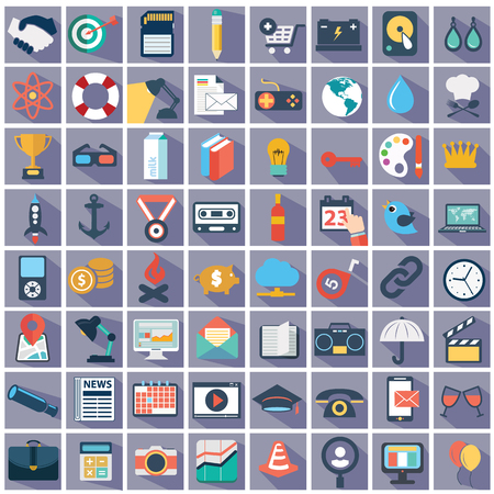 business equipment: Flat icons design modern vector illustration big set of various financial service items, web and technology development, business management symbol, marketing items and office equipment on background.