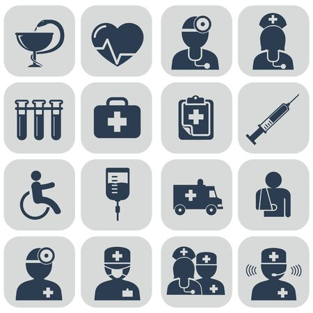healthcare team: Doctor and Nurses icons on grey vector set Stock Photo