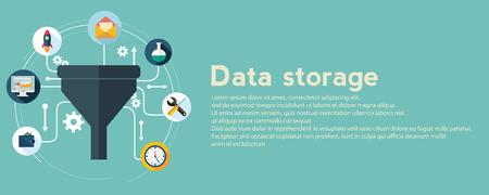 Flat concepts de conception d'illustration pour processus créatif, grand filtre de données, réseau, tunnel de données, le concept d'analyse, bannière web.