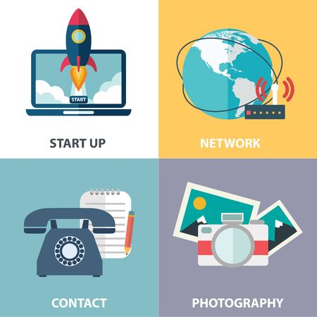 web marketing: Vector collection of flat and colorful business, marketing and finance concepts. Design elements for web and mobile applications
