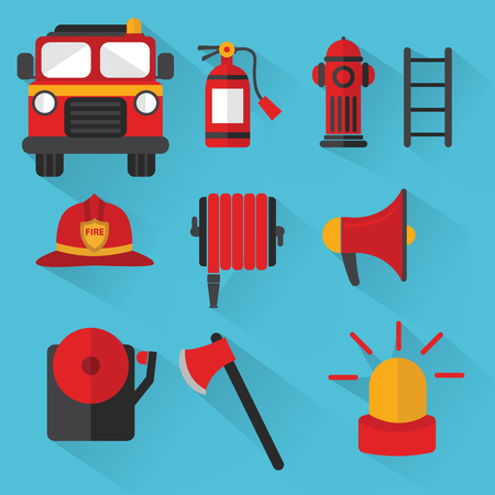 fire hydrant: Fireman Vector , Set of firefighting equipment illustration
