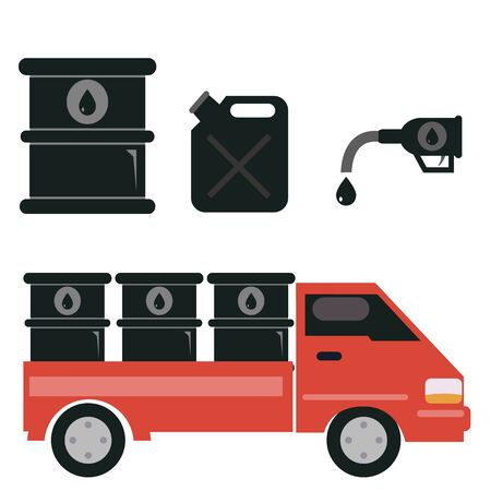 barel: Oil transport , gas station and refinery vector illustration