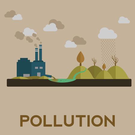 contaminacion del agua: Ilustración del vector de la contaminación con la fábrica y la contaminación del agua. Foto de archivo