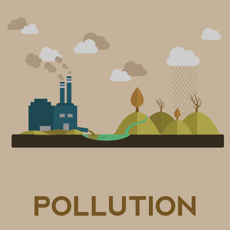 Vector illustration of pollution with factory and water contamination. Stock Photo