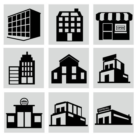 Buildings stores and home icon set. Illustration icon set Ilustrace