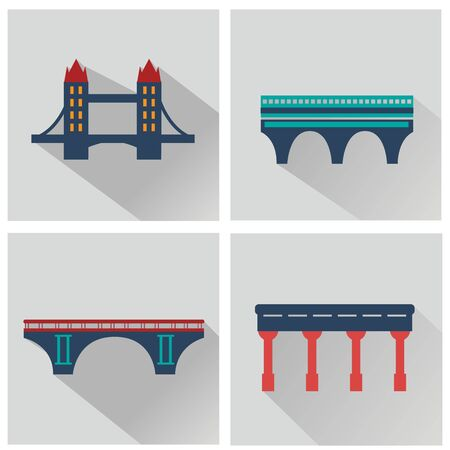 Vector isolated bridges icons set. Illustrations with long shadow Ilustrace