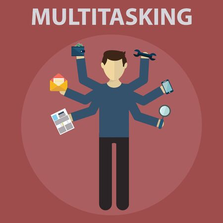 Multitasking. Human resource and self employment - vector illustration. Ilustrace
