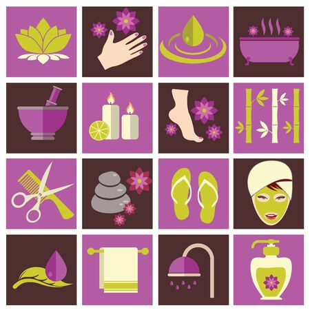 Spa and beauty vector illustration flat icons set