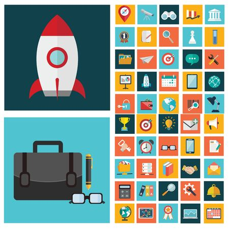 Digital marketing symbol, business development items, social media objects and office equipment. Flat design style modern pictogram collection