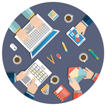 Business meeting and brainstorming. Flat design illustration