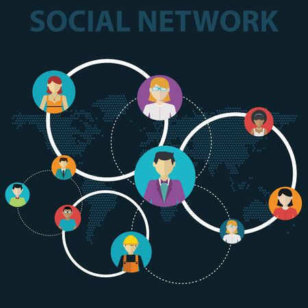 Social Media Circles Network Illustration, Vector Icon. Ilustrace