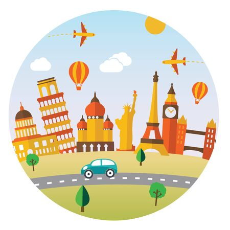 Travel and tourism background and landscape vector. Ilustrace
