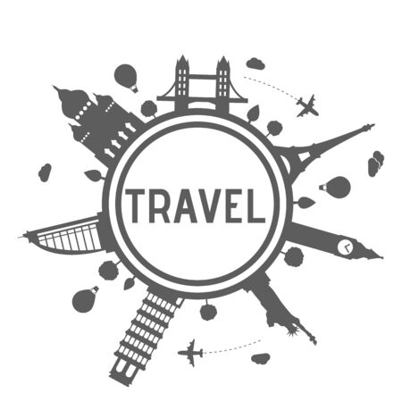 world travel: Travel and tourism logo with silhouette of world monuments.