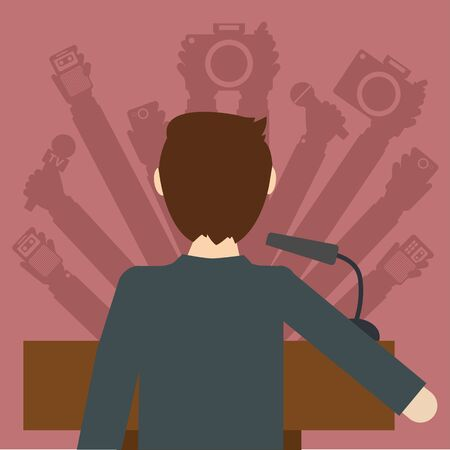 Man giving television news conference vector illustration Ilustrace