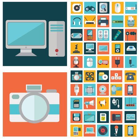 Computer technology and electronics devices, mobile phone communication and digital products. Flat design style modern pictogram collection