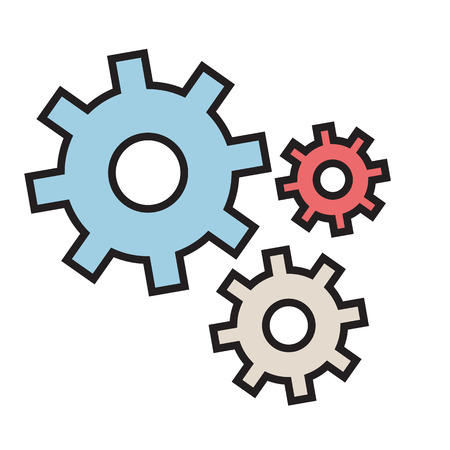 Production gears icon vector flat design with outline.