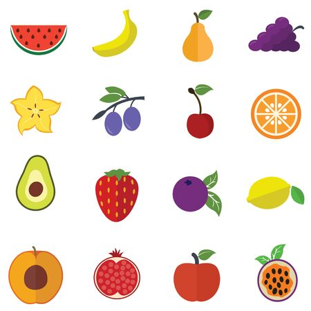 Collection of Fruits vector illustration icons flat design Ilustrace