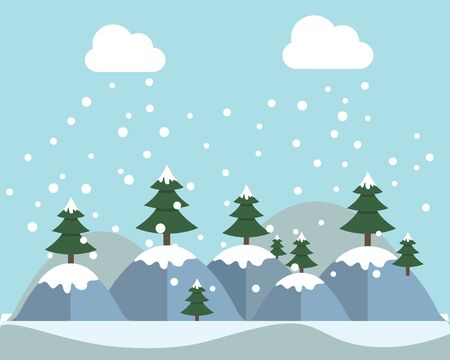 Winter Mountain Forest Landscape Background, Pine Snow Trees Woods Flat Vector Illustration. Ilustrace