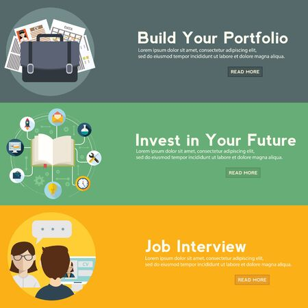Job interview, portfolio and future investment web banner. vector illustration in a flat style Ilustrace