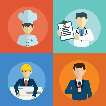 People professions flat icons set with doctor engineer chef reporter isolated vector illustration. Ilustrace