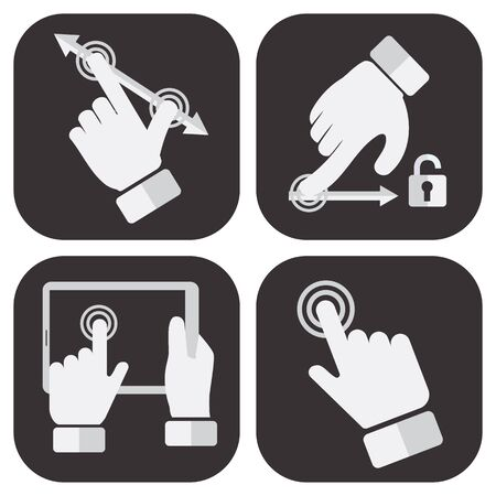 Touch Screen Gesture Collection vector illustration set