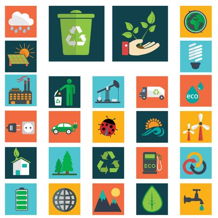 Energy and industry icons set go green icons