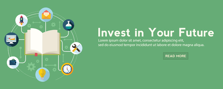 Future investment web banner. vector illustration in a flat style.