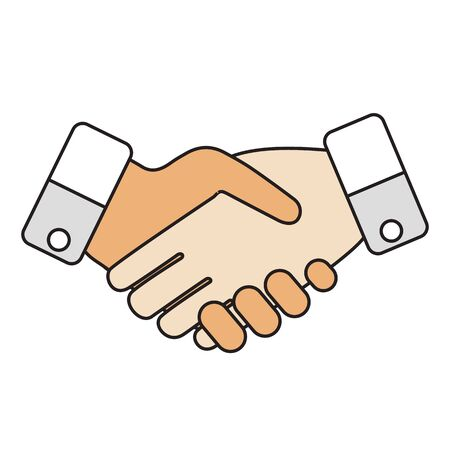 Two business partners agreed a deal and doing handshaking.
