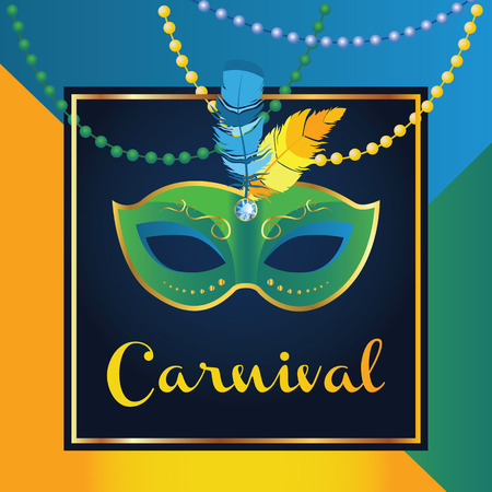 Carnival mask with feathers. Beautiful concept design with lettering for greeting card, party invitation, banner or flyer. Carnival in Rio. Carnival in Brazil.