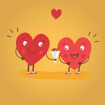 Two happy hearts in love. Cute couple in love giving flowers. Happy Valentine s day vector card - Vector illustration