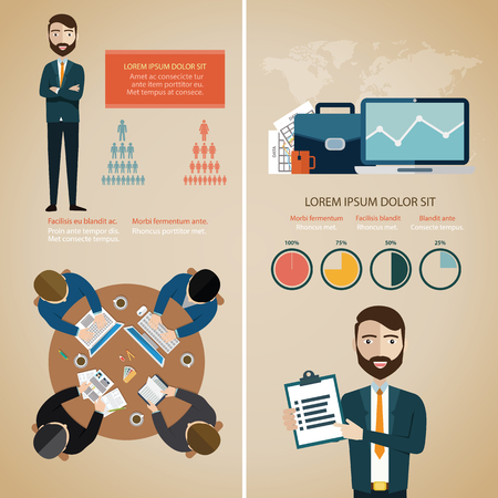 Teamwork infographic set with business avatars and world map vector illustration Ilustrace
