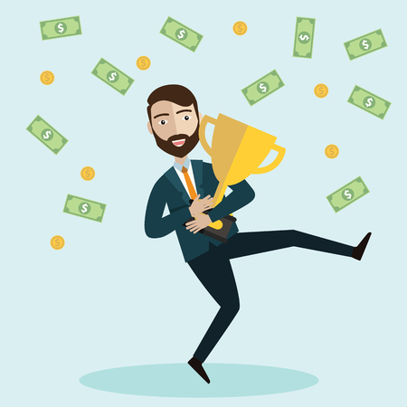 Happy business man jumping under money rain with Golden Trophy Cup. Vector illustration - Vector illustration