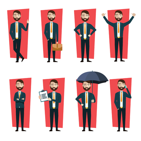 Businessman character creation set. Showing different gestures character vector design. Self confident businessman in different poses. Build your own design. Flat style infographic illustration. - Vector illustration