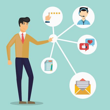 Klantrelatiebeheer. Systeem voor het beheren van interacties met huidige en toekomstige klanten - vectorillustratie. Vector Illustratie