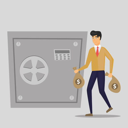 Business man puts bag with money in a metal safe. Vector, illustration, flat - Vector