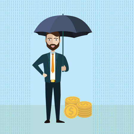 Businessman holding umbrella to protect money. Vector illustration for financial, insurance savings concept. Ilustrace