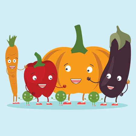 Vector image. Set of cute vegetables icons in cartoon style. - Vector illustration Ilustrace