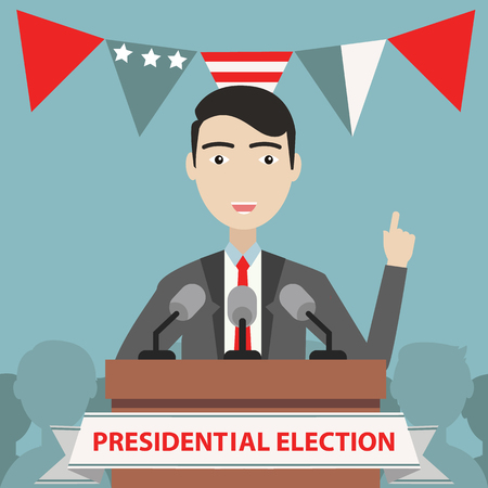 Presidential election composition with flat design.