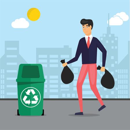 Man taking garbage, trash out in recycle bins