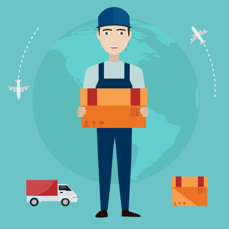 E-commerce delivery man . Shopping online all over the globe.