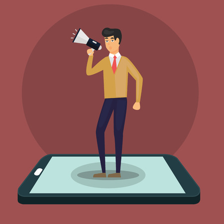 Business concept illustration of a businessman holding a megaphone coming through from smart phone. Digital marketing, communication, advertisement concept Ilustrace