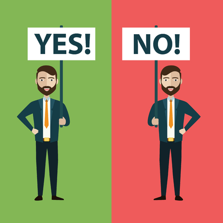 Two businessmen with yes and no banners. Vector illustration - Vector illustration Ilustrace