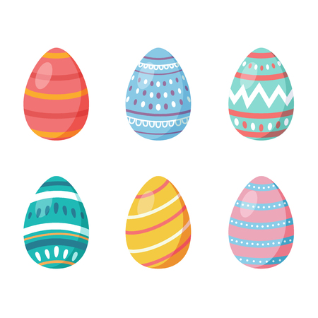 Happy Easter.Set of Easter eggs with different texture on a white background.Spring holiday. Vector Illustration.Happy easter eggs - Vector illustration