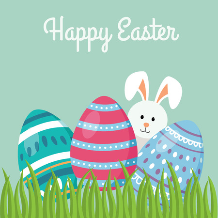 Decorative Easter eggs on green grass with a rabbit, vector illustration - Vector illustration