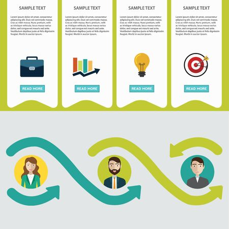 Business process infographics. Brainstorm, big idea, consulting, partnership contract Flat style